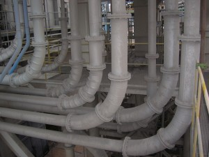 Piping lines in heating plant