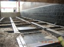 Basalt lining in wood chip boiler house